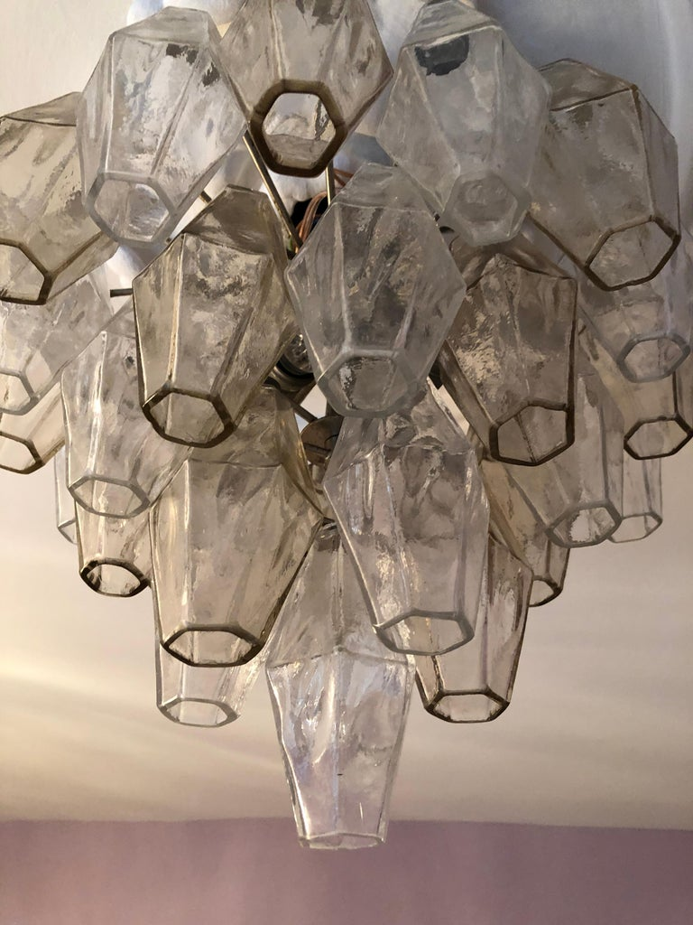Vintage Venini Polyhedral Chandelier in Clear and Smoked Glass, Italy, 1960s For Sale 1