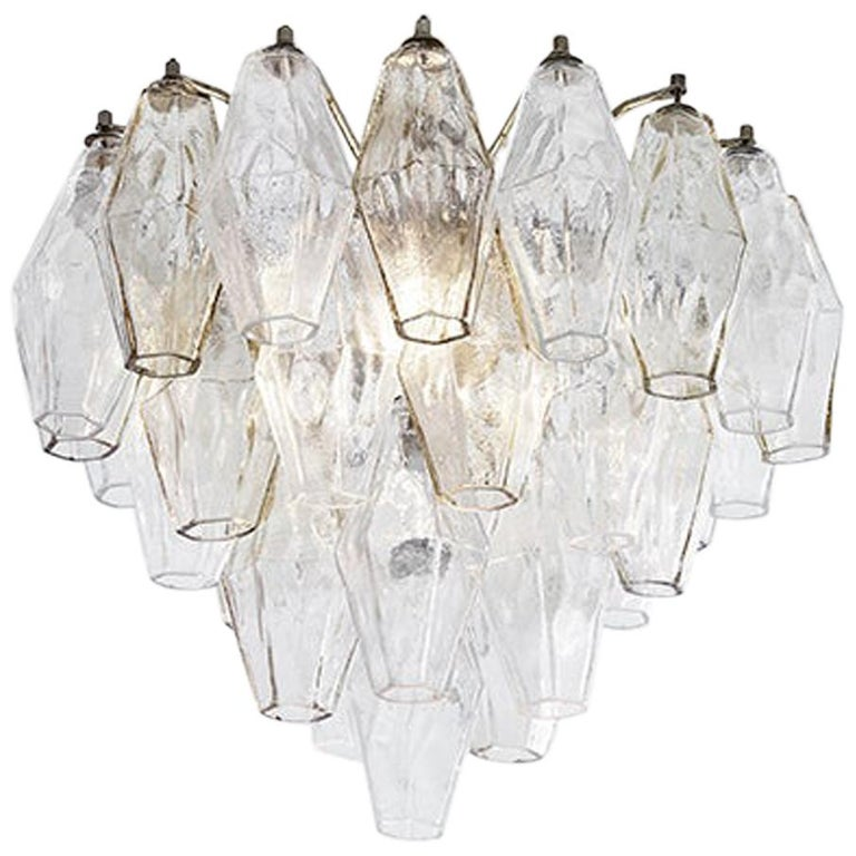 Vintage Venini Polyhedral Chandelier in Clear and Smoked Glass, Italy, 1960s For Sale