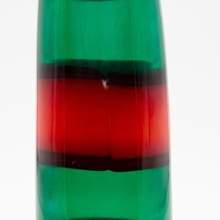 Italian Vintage Venini Red and Green Murano Fulvio Bianconi a Fasce Mouth Blown Vase For Sale