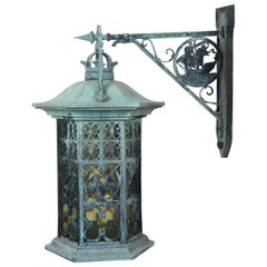 Vintage Verdigris Iron Nautical and Heraldic Carriage Lantern Wall Sconce Light