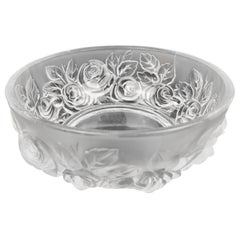 "Vintage Verlys Round Frosted Satin Art Glass Bowl, ""Roses"""