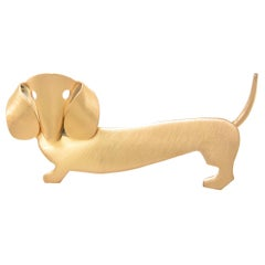 Vintage Vermeil Dachshund Dog Brooch