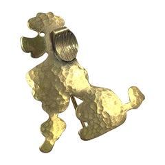 Vintage Vermeil Poodle Brooch Pin