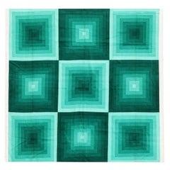 Vintage Verner Panton Quadrat Textile in Green. Size: 3 ft 10 in x 3 ft 10 in