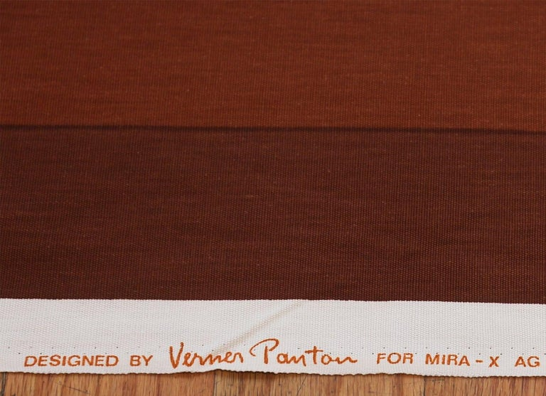Vintage Verner Panton Quadrat Textile in Orange. Size: 4 ft 2 in x 7 ft 10 in In Excellent Condition For Sale In New York, NY