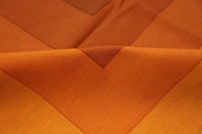 20th Century Vintage Verner Panton Quadrat Textile in Orange. Size: 4 ft 2 in x 7 ft 10 in For Sale
