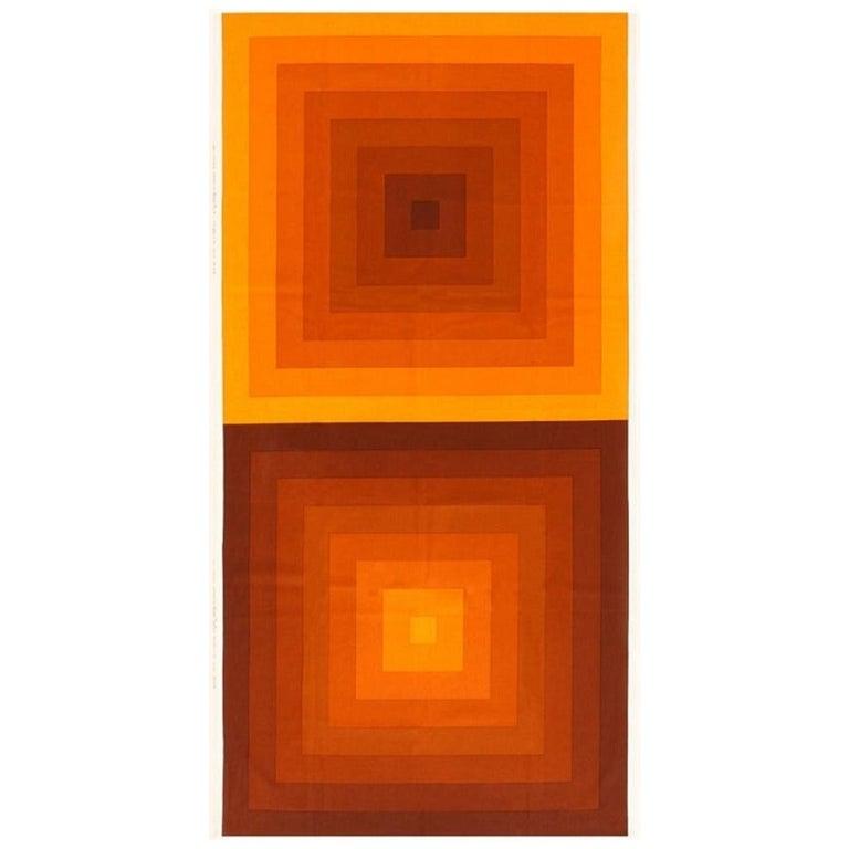 Vintage Verner Panton Quadrat Textile in Orange. Size: 4 ft 2 in x 7 ft 10 in For Sale