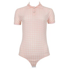 Vintage Versace 1994 Pink and White Check Medusa Bodysuit