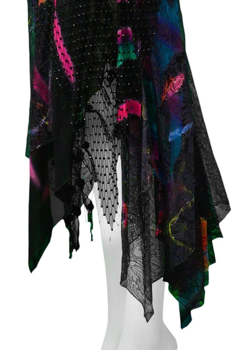 Women's Vintage Versace 2002 Black Silk, Lace & Mesh Graffiti Evening Skirt  For Sale