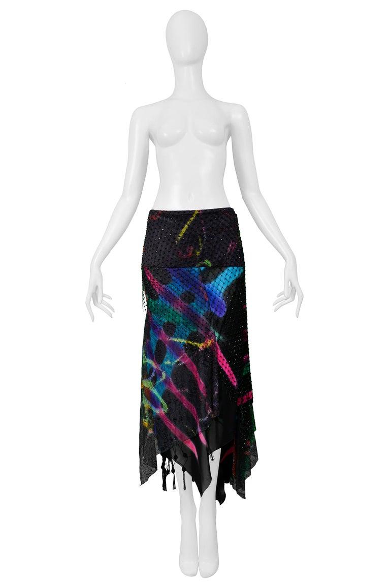 Vintage Versace 2002 Black Silk, Lace & Mesh Graffiti Evening Skirt  For Sale 1