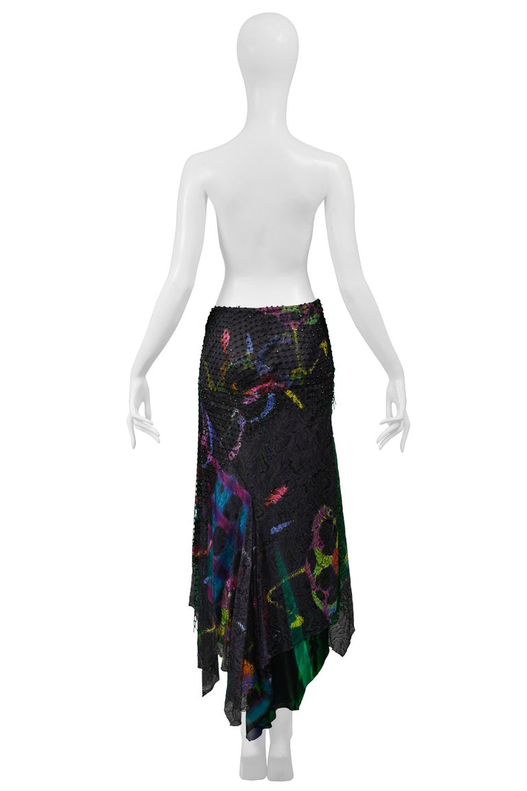 Vintage Versace 2002 Black Silk, Lace & Mesh Graffiti Evening Skirt  For Sale 3