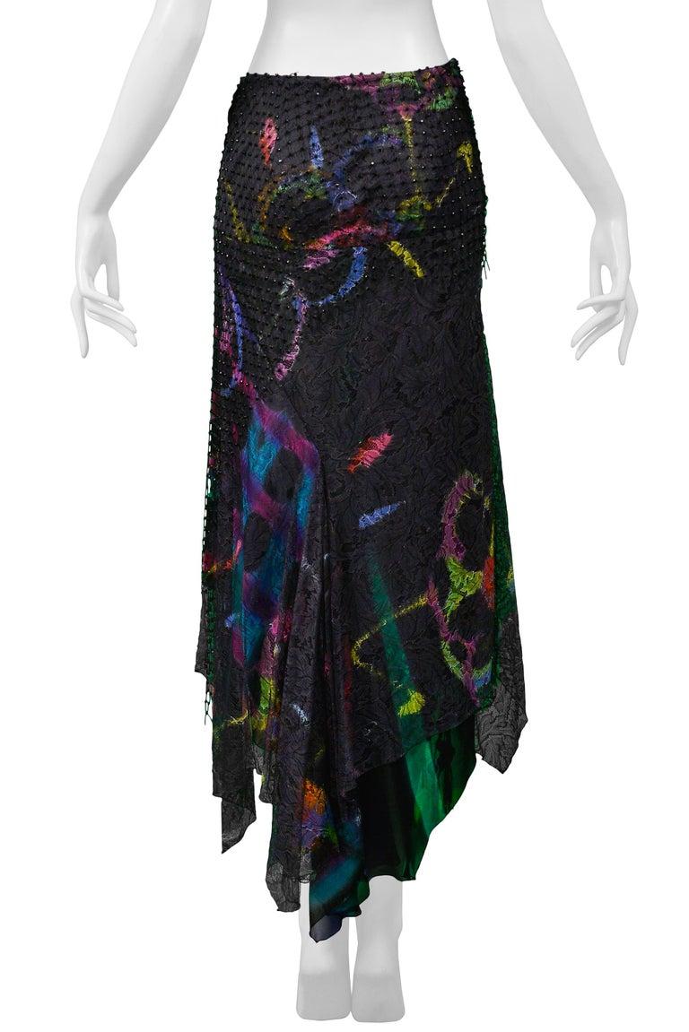 Vintage Versace 2002 Black Silk, Lace & Mesh Graffiti Evening Skirt  For Sale 4