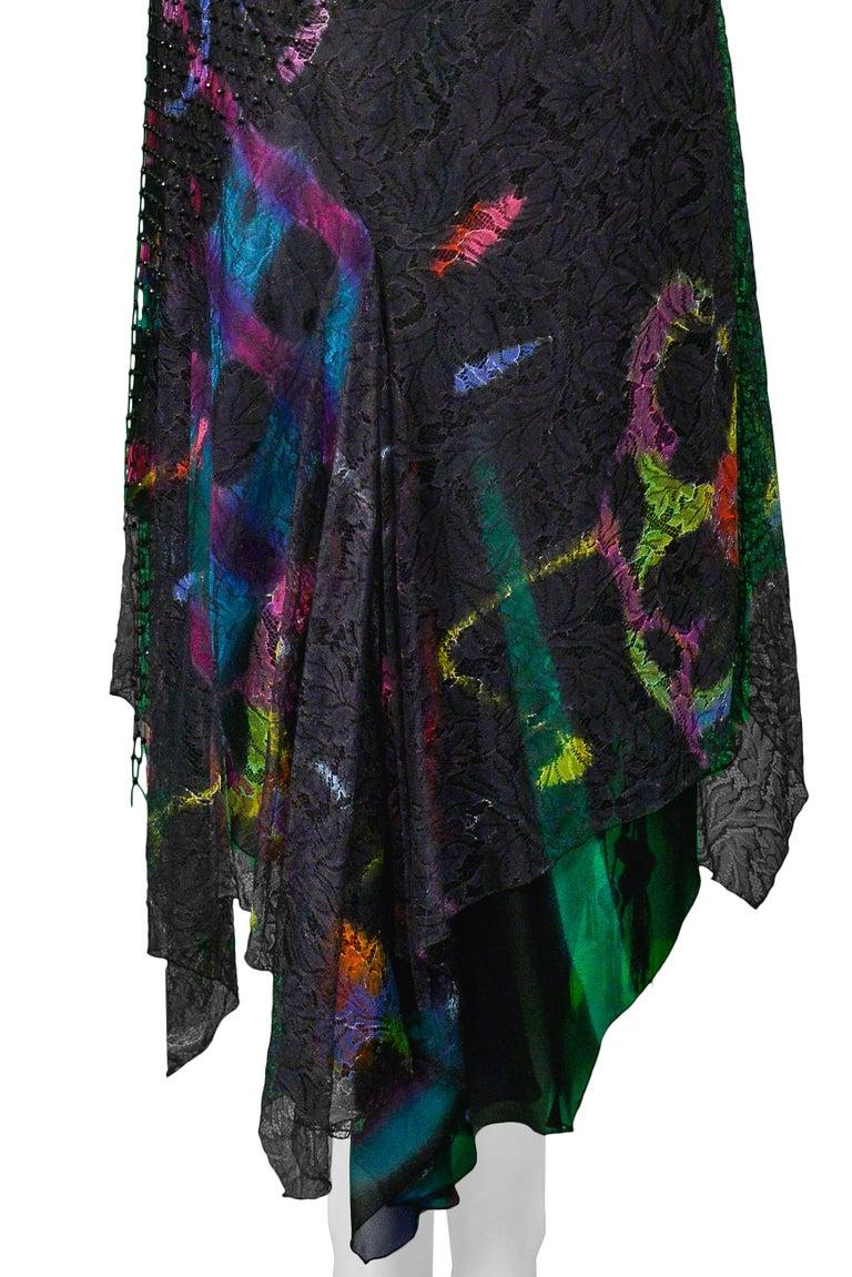 Vintage Versace 2002 Black Silk, Lace & Mesh Graffiti Evening Skirt  For Sale 5