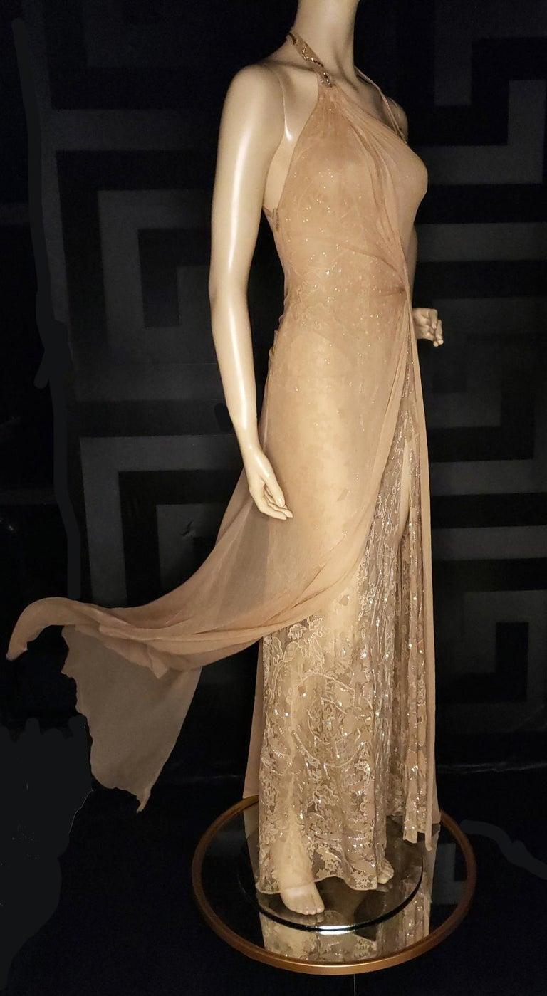 Vintage Versace Atelier Embellished Gown Custom made for Melanie Griffith  Top layer is 100% chiffon silk Second layer is lace with crystal embellished suede leather applique  Approx size US 4  Excellent condition