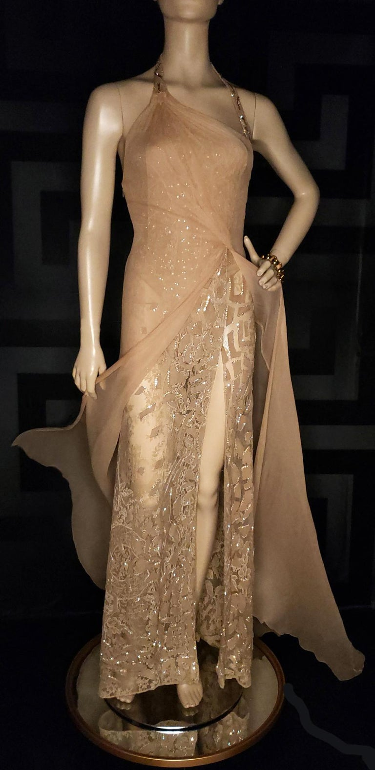 Brown Vintage Versace Atelier Embellished Gown For Sale