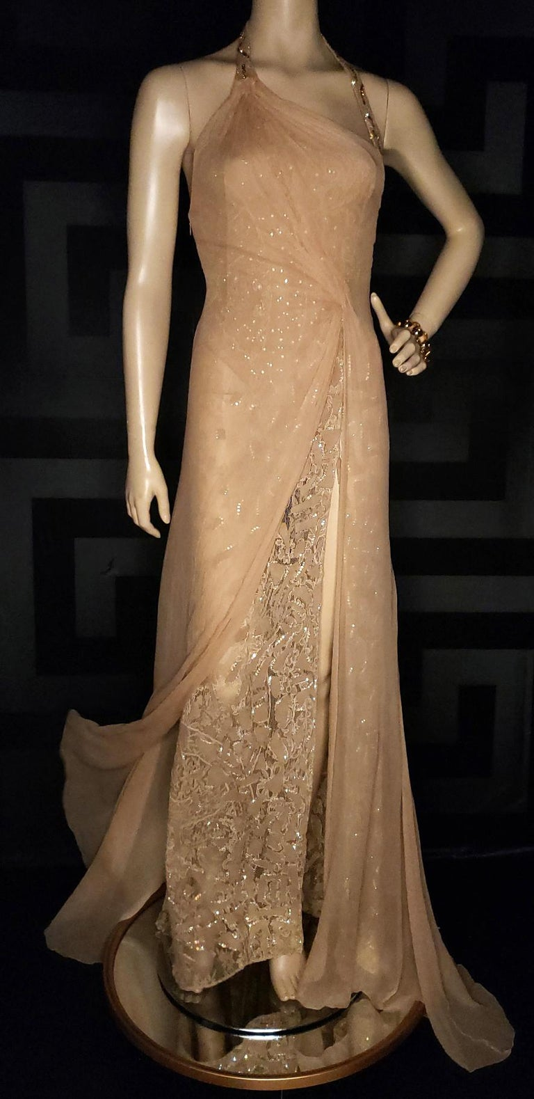 Vintage Versace Atelier Embellished Gown For Sale 1