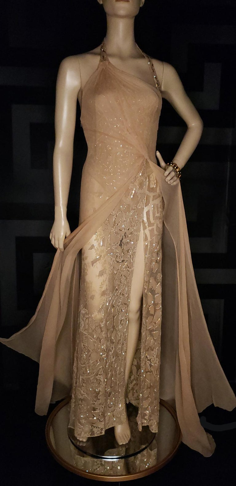 Vintage Versace Atelier Embellished Gown For Sale 3