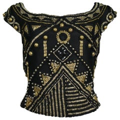 Vintage Versace Black & Brass Beaded Top 1990
