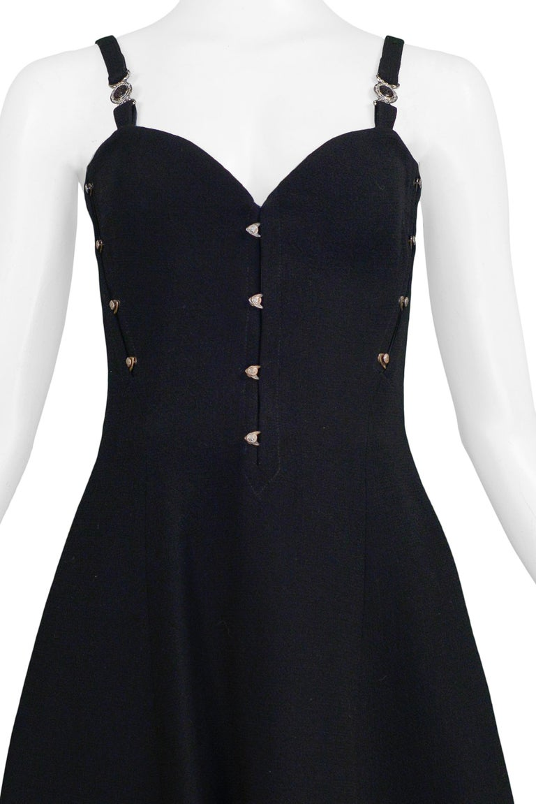Vintage Versace Black Bustier 1995 Runway Mini Dress  In Excellent Condition For Sale In Los Angeles, CA