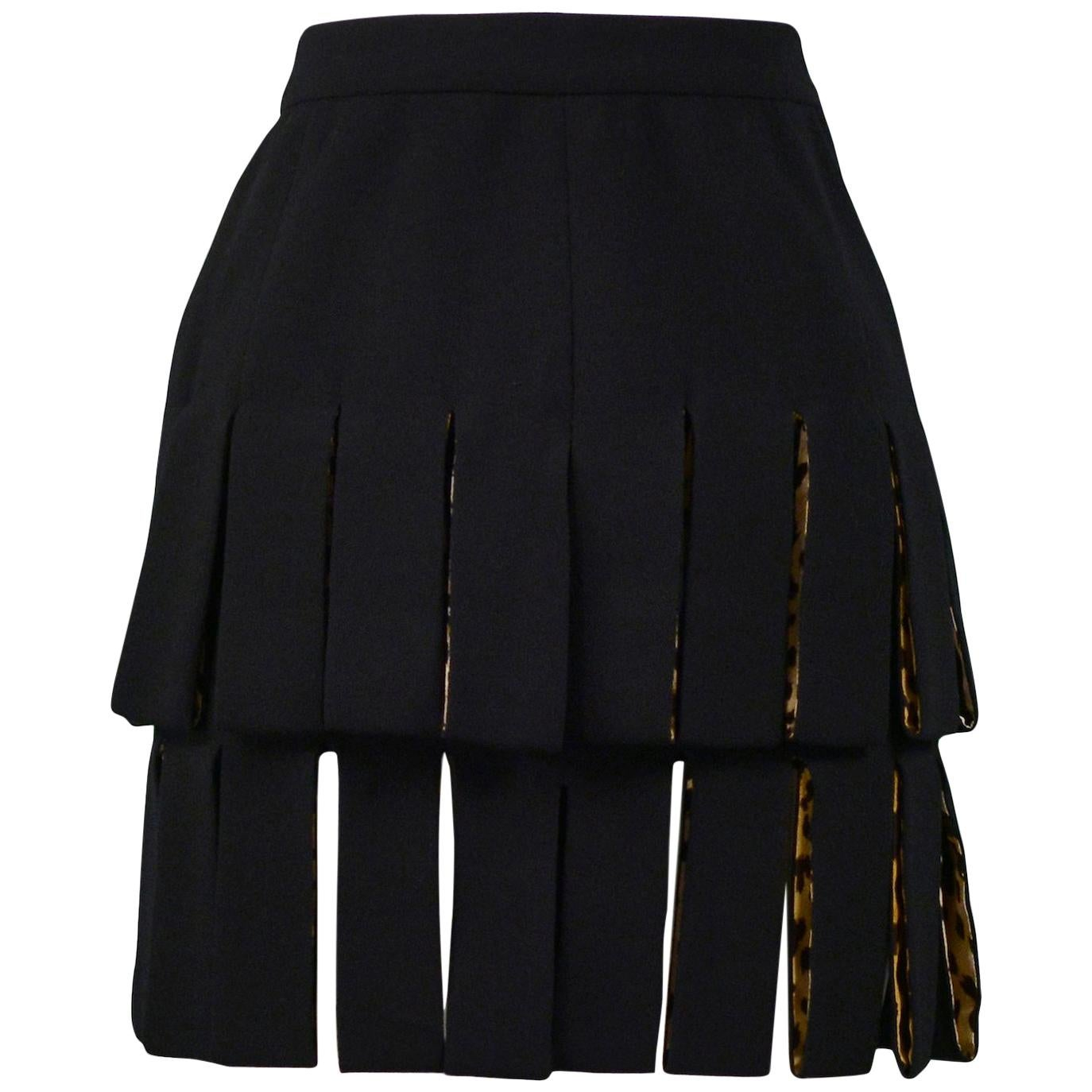 Vintage Versace Black Carwash Skirt with Leopard Lining