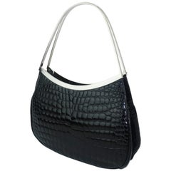 Vintage Versace Black Croc Embossed Leather Handbag With Unique Handles