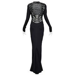 Vintage Versace Black Deco Cutout Gown 1986-87