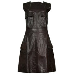 Vintage Versace Brown Leather Jumper Dress