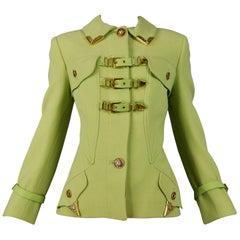 Vintage Versace Chartreuse Green Buckle Front Bondage Jacket 1992