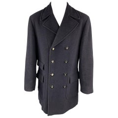 Vintage VERSACE CLASSIC Size 36 Navy Tweed Wool Blend Double Breasted Coat