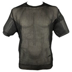 Vintage VERSACE CLASSIC Size L Black Ribbed Short Sleeve Pullover