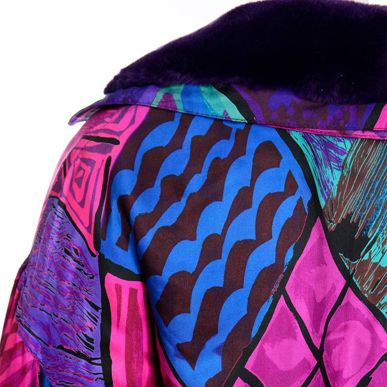 Vintage Versace Colorful  Silk Trench Coat w Purple Faux Fur Cuffs & Collar For Sale 6