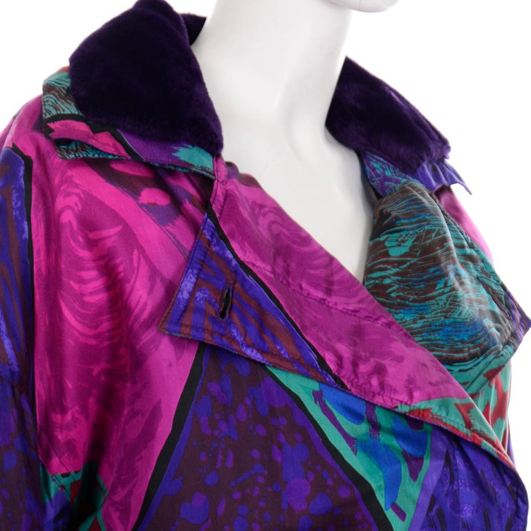 Vintage Versace Colorful  Silk Trench Coat w Purple Faux Fur Cuffs & Collar For Sale 7