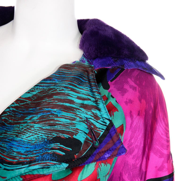 Vintage Versace Colorful  Silk Trench Coat w Purple Faux Fur Cuffs & Collar For Sale 8