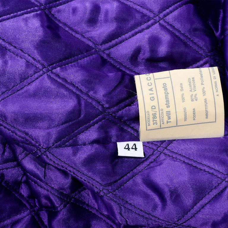 Vintage Versace Colorful  Silk Trench Coat w Purple Faux Fur Cuffs & Collar For Sale 11