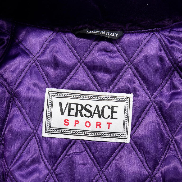 Vintage Versace Colorful  Silk Trench Coat w Purple Faux Fur Cuffs & Collar For Sale 12
