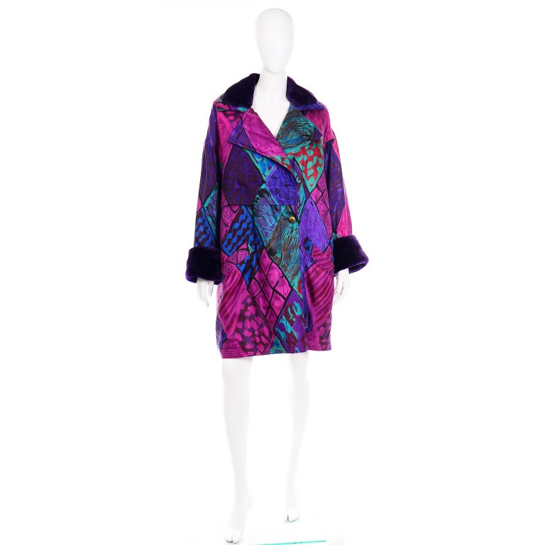 Vintage Versace Colorful  Silk Trench Coat w Purple Faux Fur Cuffs & Collar In Excellent Condition For Sale In Portland, OR