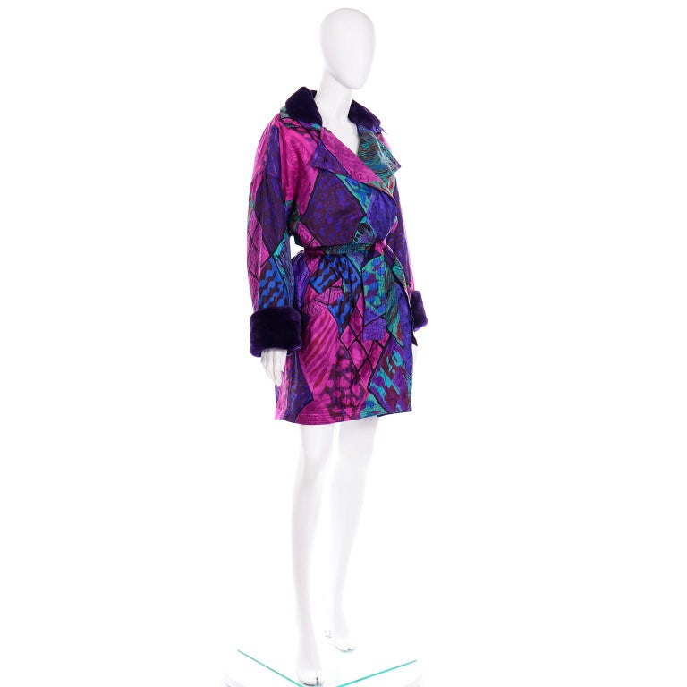 Women's Vintage Versace Colorful  Silk Trench Coat w Purple Faux Fur Cuffs & Collar For Sale