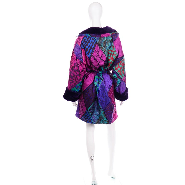 Vintage Versace Colorful  Silk Trench Coat w Purple Faux Fur Cuffs & Collar For Sale 1
