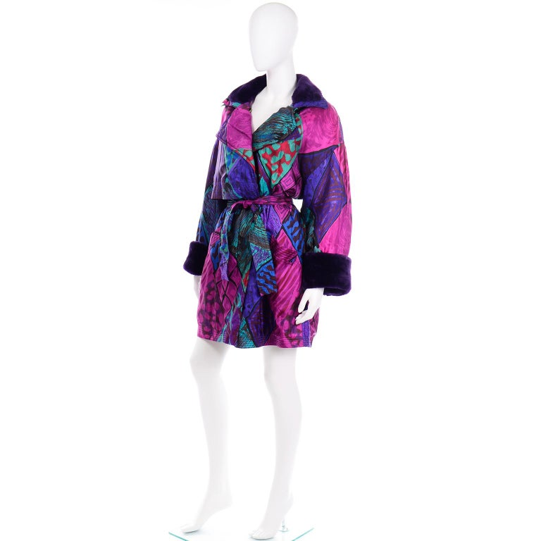 Vintage Versace Colorful  Silk Trench Coat w Purple Faux Fur Cuffs & Collar For Sale 2