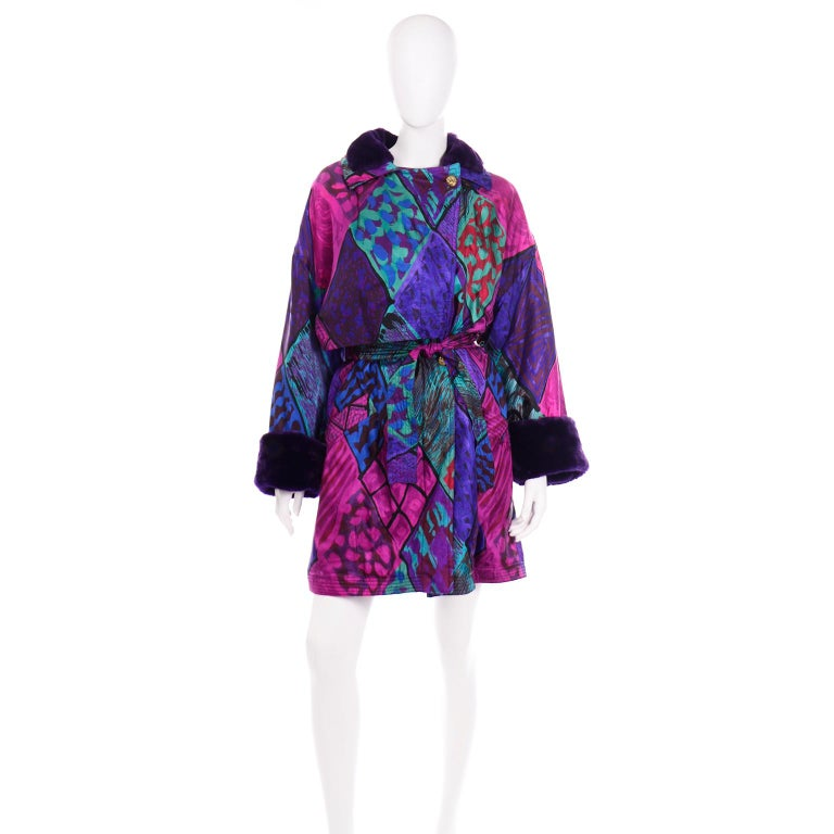 Vintage Versace Colorful  Silk Trench Coat w Purple Faux Fur Cuffs & Collar For Sale 3