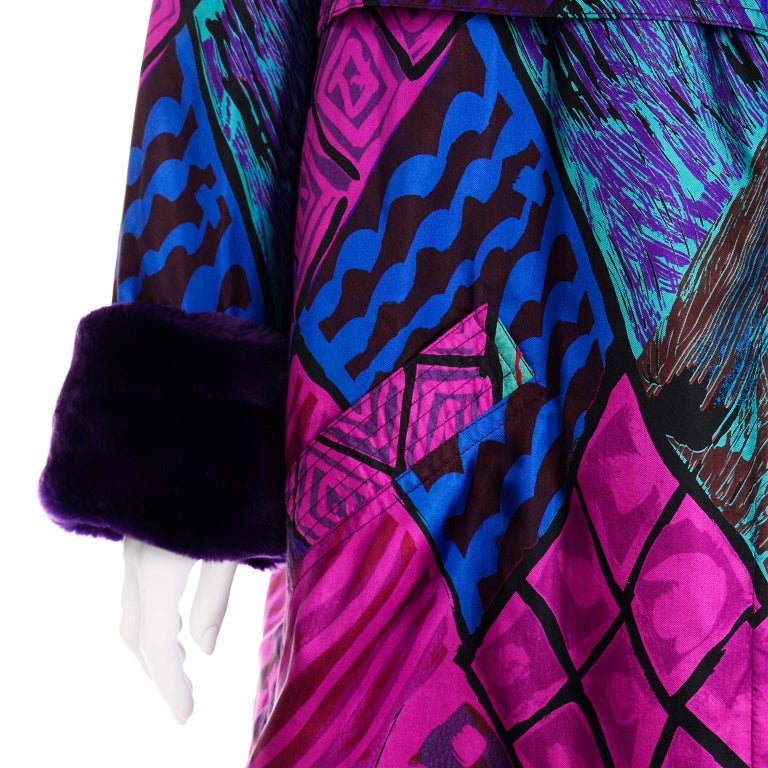 Vintage Versace Colorful  Silk Trench Coat w Purple Faux Fur Cuffs & Collar For Sale 4