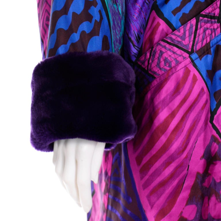 Vintage Versace Colorful  Silk Trench Coat w Purple Faux Fur Cuffs & Collar For Sale 5