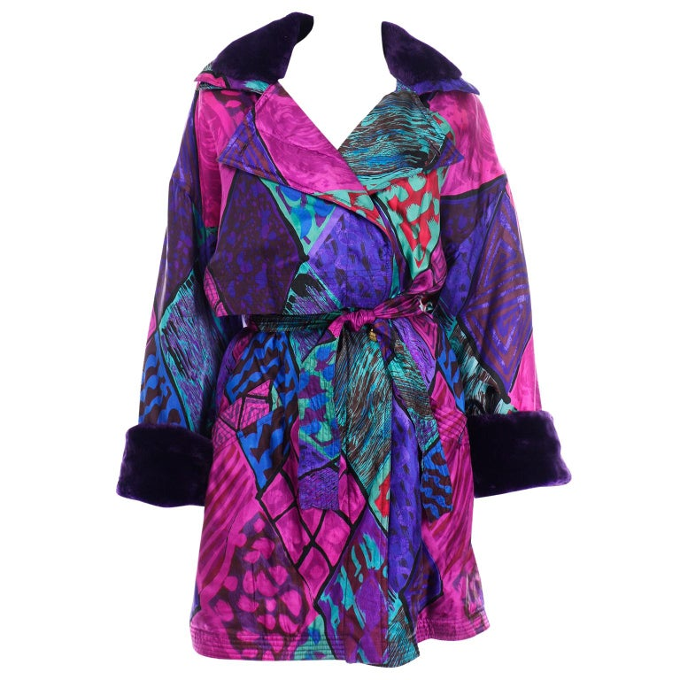 Vintage Versace Colorful  Silk Trench Coat w Purple Faux Fur Cuffs & Collar For Sale