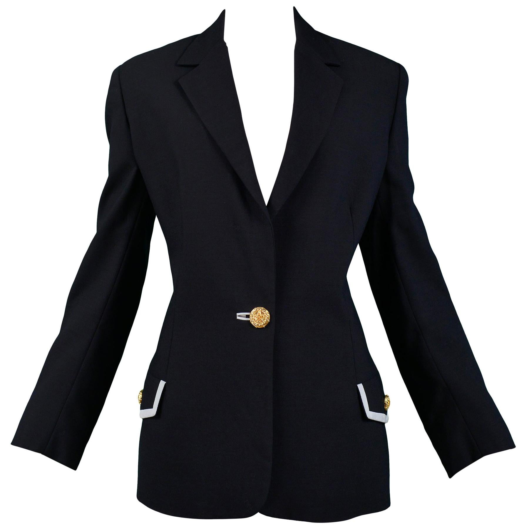 Vintage Versace Couture Navy Blazer Jacket with Lace Up Ribbon Cuffs 1992