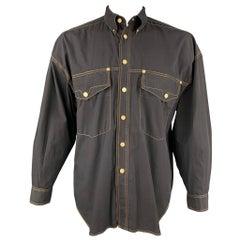 Vintage VERSACE JEANS COUTURE Size M Black Contrast Stitch Cotton Shirt