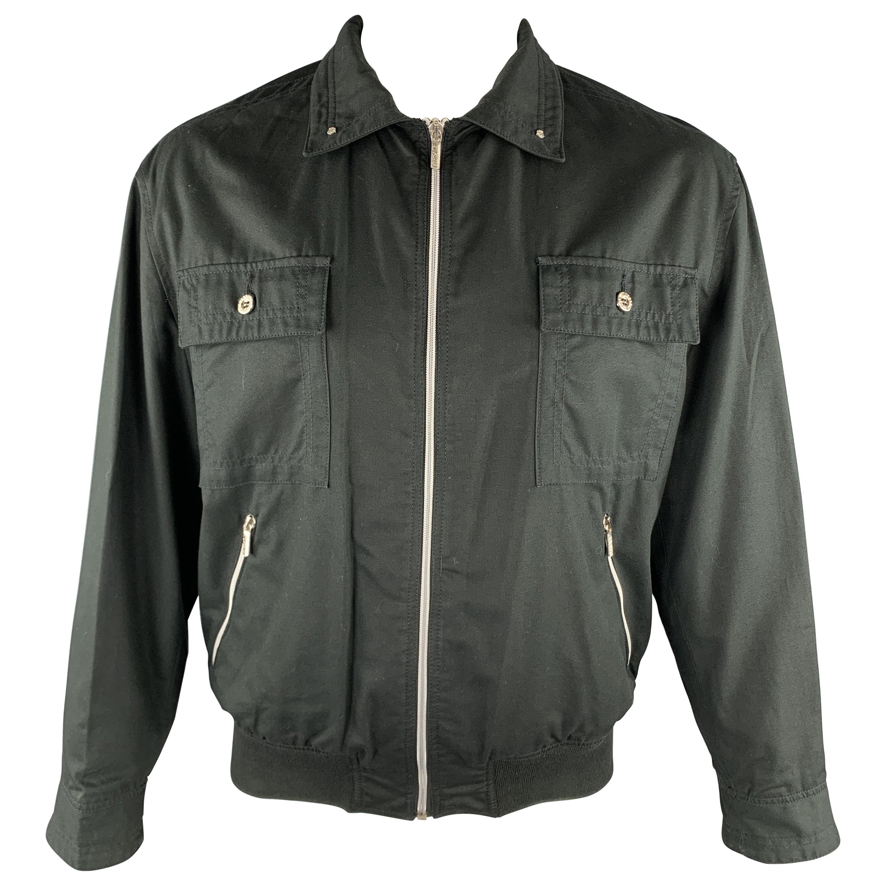 Vintage VERSACE JEANS COUTURE Size M Black Cotton Full Zip Silver Buttons Jacket