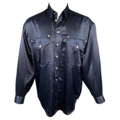 Vintage VERSACE JEANS COUTURE Size M Navy Polyester Long Sleeve Shirt