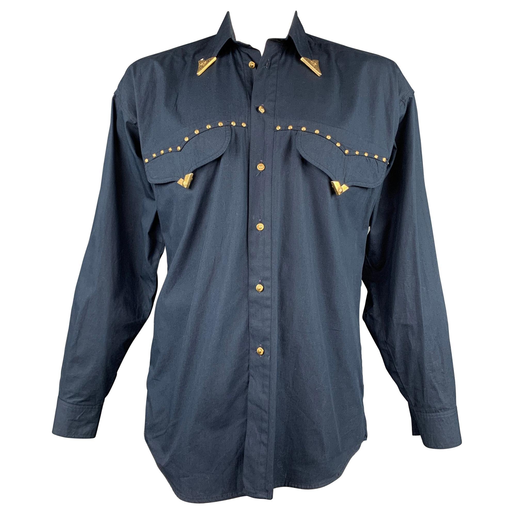 Vintage VERSACE JEANS COUTURE Size M Navy Studded Cotton Cowboy Oversized Shirt