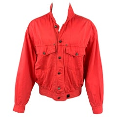 Vintage VERSACE JEANS COUTURE Size XXL Red Cotton Trucker Jacket