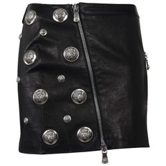Vintage VERSACE Lion Head Black Leather Skirt